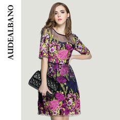 Audealbano gama alta de calidad superior increíble bordado llamarada acoplamiento del cordón del remiendo de talle alto rápido moda de verano mujer vestidos