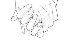 чёрно-белое, парень, рисунок, девушка, руки, манга, картинки