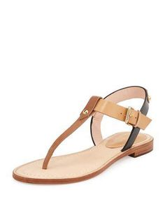 Kate Spade New York Sky Leather T-Strap Sandal, Luggage/Natural/Black