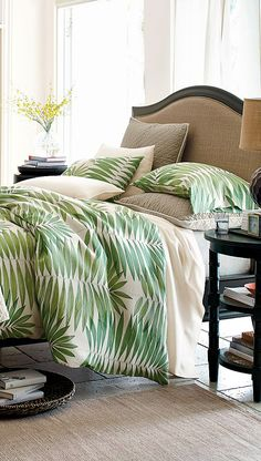#Palm printed everything is trending in fashion and interior design. Subtly incorporate the pattern into your #bedroom with a new #duvet.
