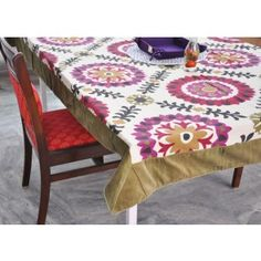 Medallion Printed table cover wit cotton velvet border #tablecovers #tablecoversonline