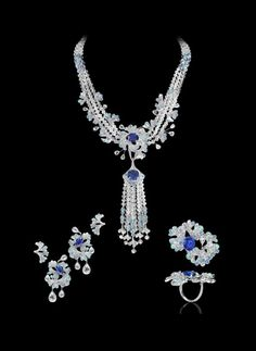 David David Morris parure diamond gold white opa lsapphire blue pears hape cutflower necklace ringearrings