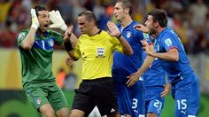 RECIFE, BRAZIL - JUNE 19: Gianluigi Buffon (L) Giorgio Chiellini and Andrea Barzagli (R) Italy protest to Referee Diego Abal after Japan were awarded a penalty during the FIFA Confederations Cup Brazil 2013 Group A match between Italy and Japan at Arena Pernambuco on June 19, 2013 in Recife, Brazil. (Photo by Claudio Villa/Getty Images)