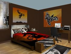 Motocross Wall Murals, racing in the mud. Come see our Motocross designs at http://www.visionbedding.com/WallMurals/Motocross.php