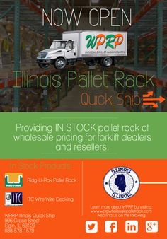 #MaterialHandling Do you have a project in Illinois that needs products ASAP? We can help! We just launched our NEW Pallet Rack Quick Ship out of Elgin, IL. #ElginQuickShip  http://www.wprpwholesalepalletrack.com