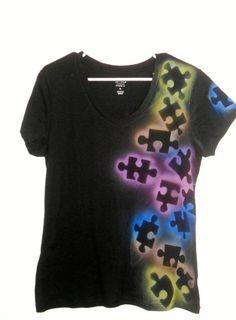Autism Awareness Tee shirt - Puzzle piece, multi color via Etsy