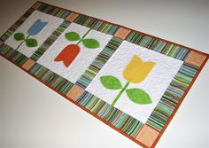 """Spring Quilted Table Runner, Appliqued Tulip Table Runner, Modern Quilted Table Mat, Easter Table Runner, 14""""x38"""", Quiltsy Handmade by VillageQuilts on Etsy"""