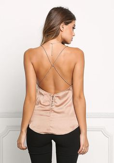 Shop Trendy Women's and Junior Clothing Satin Cami, Glitz And Glam, Junior Outfits, Lace Trim, Nude, How To Wear, Clothes, Dresses, Women