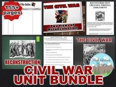 Civil War and Reconstruction Unit Bundle. This Bundle Includes the Following Items:Events Leading Up to War PowerPointCivil War PowerPointFort Sumter to Antietam PowerPointTales of the Gun: Guns of the Civil War Original Video Guide Graphic OrganizerCivil War Graphic Organizer Organizational Chart: Civil War BattlesMedical Practices in the Civil War PowerPoint *BONUS*Civil War Combat: Bloody Lane Original Video GuideC...