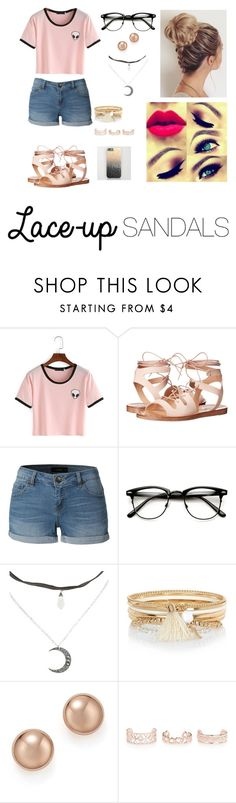 """""""lace-up sandals"""" by annisaj ❤ liked on Polyvore featuring Steve Madden, LE3NO, River Island, Bloomingdale's, New Look, contestentry, laceupsandals and PVStyleInsiderContest"""