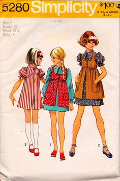 Simplicity 5280 Girls' Dress and Smock Pattern, UNCUT, Size 8, 1972, Vintage, Retro, Throwback