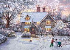 This nostalgic celebration of winter fun features the signature glow of popular artist Thomas Kinkade, beautifully adapted to a jigsaw puzzle to delight the entire family. 27 x x © Thomas Kinkade Christmas Puzzle, Christmas Gingerbread House, Victorian Christmas, A Christmas Story, Thomas Kinkade Puzzles, Thomas Kinkade Christmas, Kinkade Paintings, Thomas Kincaid, Ginger House