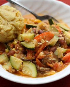 Late Summer Vegetable Stew with Brown Butter Cornbread - Joanne Eats Well With Others