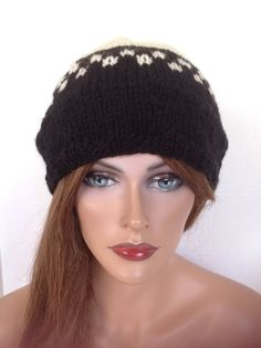 Beanie Slouch Hat Hand Knit Wool Designer Fashion Chic Boack White Ski Snow Hip  | eBay