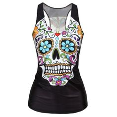 RedExtend Women's Color Skull Slim Gym Sport T-Shirt Vest Tank To