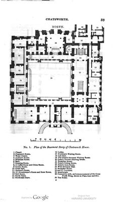Chatsworth House, Derbyshire, basement floor plan