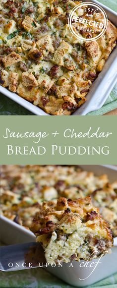 Savory Sausage and Cheddar Bread Pudding A holiday favorite, this make-ahead breakfast casserole brimming with sausage and sharp cheddar is perfect for feeding a crowd. - Savory Sausage and Cheddar Bread Pudding Breakfast Bread Puddings, Savory Bread Puddings, Breakfast Casserole, Casserole Dishes, Brocolli Casserole, Stuffing Casserole, Vegetable Casserole, Casserole Recipes, Brunch Recipes