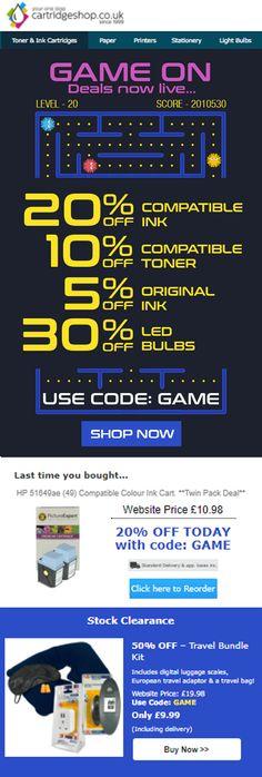 Cartridge Shop - Game On - Platform game themed email design by Cartridge Shop, Toner Cartridge, Email Marketing Design, Email Design, Printer Ink Cartridges, Inkjet Printer, Cheap Printer Ink, Sale Emails, Platform
