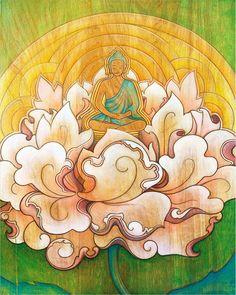 Items similar to Buddha in a Lotus Flower - meditation art print - spiritual / zen art - altar art on Etsy Buddha Painting, Buddha Art, Thangka Painting, Lotus Flower Art, Decoupage, Tibetan Art, Meditation Art, Zen Art, Modern Cross Stitch