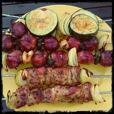 Germany Rodizio: Pork  moinkballs onions and summer squash on the skewer.  #rodizio #BBQ #grill #moinkballs #Pork #foodstagram #foodblooger #foodblog #foodlover #mybbqplace