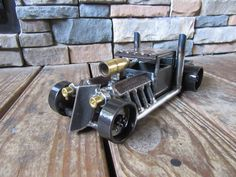 Hot Rod Rat Rod Steel Truck-Handmade Metal Cars-Welded Art-Mancave-Decor-Collectable-Scrap Metal Art-Burned Wood-Engine-Brass by MetalDisorder on Etsy