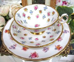 ROYAL CHELSEA TEA CUP AND SAUCER TRIO  FLORAL TEACUP PATTERN ~ this reminds me of my grandma.