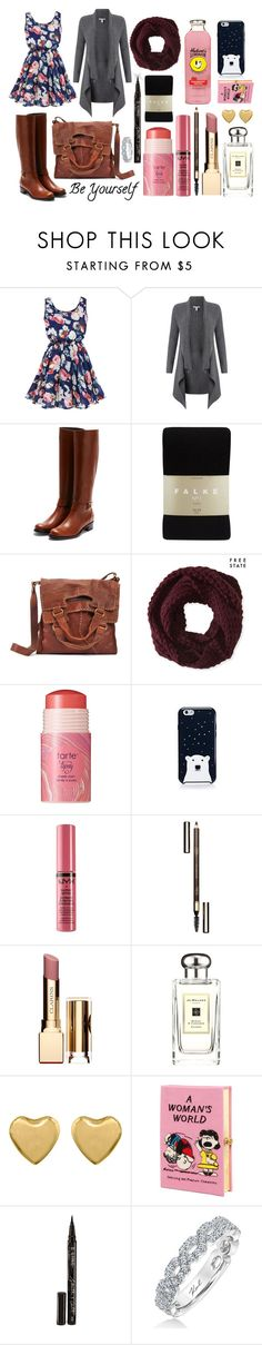 """Easy rainy Thursday"" by ferretsmither ❤ liked on Polyvore featuring Autumn Cashmere, Rupert Sanderson, Falke, Lucky Brand, Aéropostale, tarte, Kate Spade, NYX, Clarins and Jo Malone"