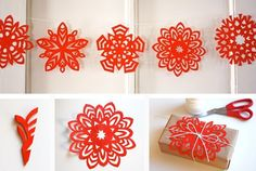 5 pointed paper snowflakes, folding instructions