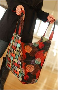 Trapezoid Tote sewing pattern (IJ965) Create this contemporary tote to show off your piecing & quilting techniques. Use coordinating strips such as jelly rolls or Bali Pops for the front & back tote or showcase your favorite fabric with a non-pieced version. Deep gussets allow for maximum storage making this the perfect purse for shopping & travel. Available from IndygoJunction.com
