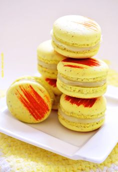 Mango Macarons with White Jasmine Tea Ganache