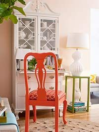 Love this secretary with the funky-cool chair!    Dining Room Decorating - Better Homes and Gardens - BHG.com