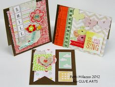 Trio of sweet cards from @Patti Milazzo using @American Crafts #Dear Lizzy collection and @GlueArts adhesives. gluearts.blogspot.com