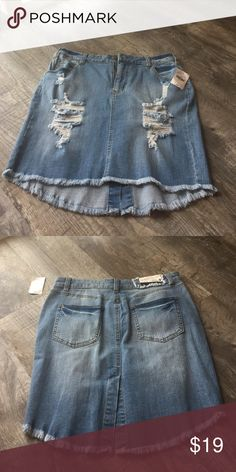 Jean skirt sapphire ink denim distressed nwt Super cute Jean skirt sapphire ink denim distressed nwt size 9 . Retail 44 Skirts