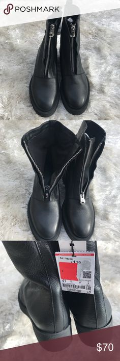 NWT    Moto Combat Boots with Zipper Front Combat boots from Zara. Black with silver zipper. Chunky platform heel. New with tags. Size 41 or 10. See Zara size chart prior to purchase. Zara Shoes Combat & Moto Boots
