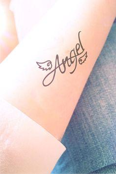 Angel Wing tattoo - InknArt Temporary Tattoo - quote tattoo wrist sticker fake tattoo tiny bird love from INKNARTSHOP Temporary Tattoo.