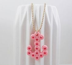 Pink hama anchor necklace