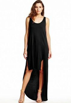 Michael Stars hi low dress with back pleat in black ~ The Blue Rose