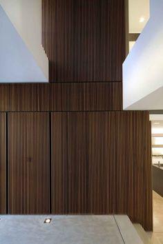 interior architecture, wood cladding, concrete, floor lights