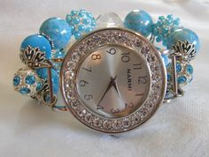 Aqua and Crystal Chunky Beaded Watch Band and Face  by BeadsnTime, $30.00