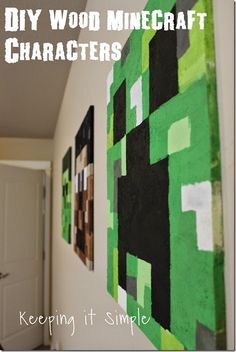 DIY Wood Minecraft Characters- Create this easy Minecraft zombie, Steve and Creeper  out of ply wood #minecraft #creeper #boysroom @keepingitsimple Minecraft Zombie, Minecraft Crafts, Minecraft Sign, Minecraft Stuff, Minecraft Party, Minecraft Bedroom, Boys Room Decor, Kids Decor, Boy Room