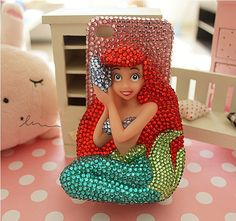 Bling Mermaid iPhone Case-Pink Rhinestone background Phone Cover-iPhone 5 Case Samsung galaxy note 2 case-iPhone 4 from Jackonline on Etsy. Cute Iphone 5 Cases, Pink Phone Cases, Cute Cases, Diy Phone Case, Phone Covers, Coque Iphone, Iphone 4s, Samsung Cases, Samsung Galaxy