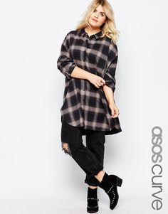 Image 1 ofASOS CURVE Longline Shirt in Oversize Check