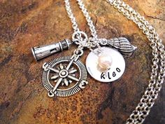 Nautical Jewelry, Personalized Necklace, Pearl Necklace, Ocean Jewelry, Beach Jewelry, Lighthouse Jewelry. $23.00, via Etsy.