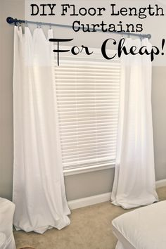DIY Floor length curtains for cheap! - at lizmarieblog.com curtain clips at Lowe's $5 package X2 + Basics tablecloths from BB for approx. $10 each X2 (using your 20%off coupon)
