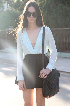 Low Cut White Blouse | Fashion Ql