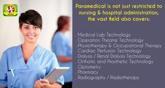 It is not only MBBS or equivalent medicine practitioners, the general misbelief, are responsible for maintenance of health in a society. Equally responsible are the paramedic personnel who help the doctor reach the correct diagnosis, treat or operate the patient or help in overall care of the patient and care and management of the health facilities.  Get a career in #Paramedical with IPSR http://www.ipmtindia.org/paramedical.html #education