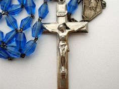 Antique Blue Crystal Rosary Beads Catholic Relgious Sterling Silver Crucifix | eBay