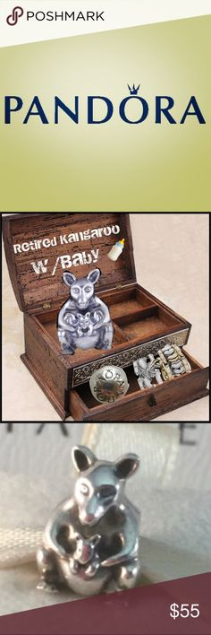 🦋 Retired Pandora Kangaroo w/Baby 🍼 Authentic Retired Kangaroo w/Baby 🦋  Such a Charming little pair 💕 All ready to hop over to their new home 🏡 (gifted to me) Excellent Condition 🦋 Pandora Jewelry Bracelets