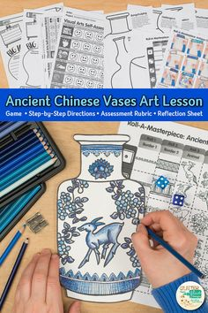 Learn art history while creating a Chinese vase inspired by the Ming Dynasty. Fill up your middle school classroom sub plan folder with no-prep art projects, lesson plans, and templates that are easy to implement. Great for arts integration, homeschooling Art Sub Plans, Art Lesson Plans, Middle School Art, Art School, Art Classroom, School Classroom, Classroom Art Projects, School Projects, New Year Art