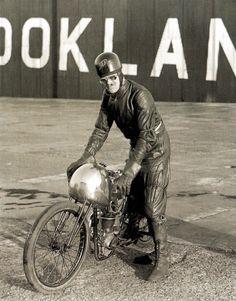 Record Holder EC Fernihough on an Excelsior JAP 175 c.c. motorcycle, at the Brooklands race track - UK - 31 October 1933